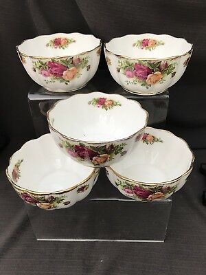 ROYAL ALBERT OLD COUNTRY ROSE Set Of 5 Fluted Bowls