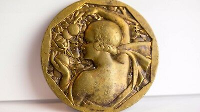 Vintage Bronze Medal ~ Art Deco R. Cochet - Woman holding Fruit from tree