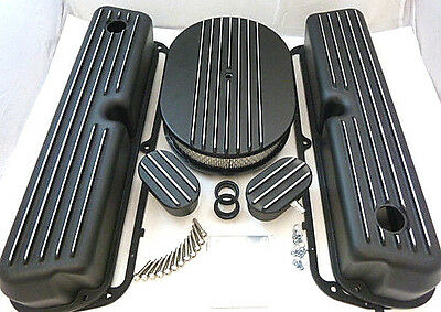 Small Block Ford Tall Black Finned Engine Dress Up Kit W/ Air Cleaner 289 302