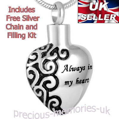 Heart Cremation Ashes Necklace - Memorial Funeral Jewellery - Ash Urn Pendant