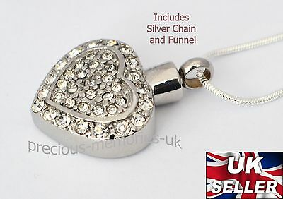 Diamante Heart Cremation Ashes Necklace - Funeral Memorial Jewellery Urn Pendant