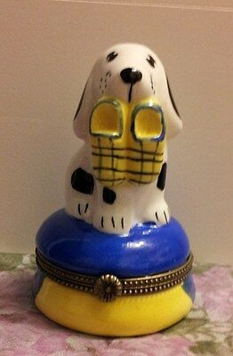 MAGNIFIQUE Dalmatian Puppy with Master's Slippers TRINKET BOX with Gift Box!!!