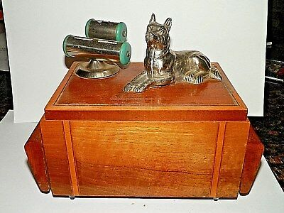 Vintage Art Deco Wood Cigarette Box With Perpetual Calendar And Dog German Sheph