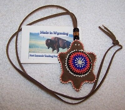 Hand Made Beaded Turtle Amulet Rendezvous Black Powder Mountain Man 01