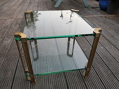 1970s Peter Ghyczy square solid brass & glass Coffee Table