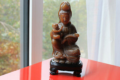 Vintage Chinese Amber Shoushan stone Carving Kwan Yin With Child & Ruyi Statue