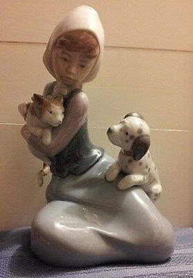 "LLADRO ""Little Friskies"", Girl with Cat & Dog, No. 5032  1978!!!"