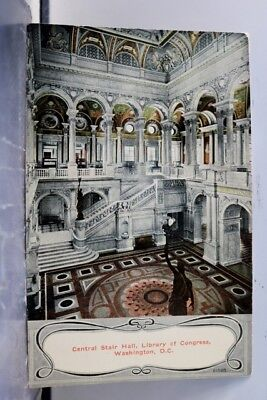 Washington DC Library of Congress Central Stair Hall Postcard Old Vintage Card