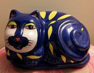 Cobalt Blue & Yellow Cat Trinket Box in MINT CONDITION!!!