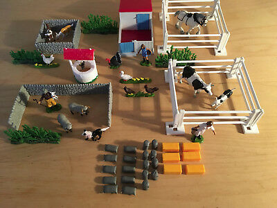 Large selection of vintage Britains farm animals, well, pig sty, fences, walls