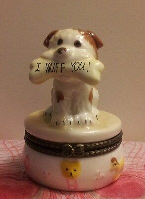 """Adorable Puppy with """"I Wuff You!"""" Bone Trinket Box with Surprise Inside!!!"""