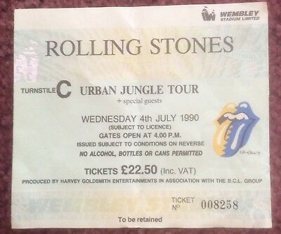 Rolling Stones Urban Jungle Tour Concert Used Ticket Stub Wembley July 1990