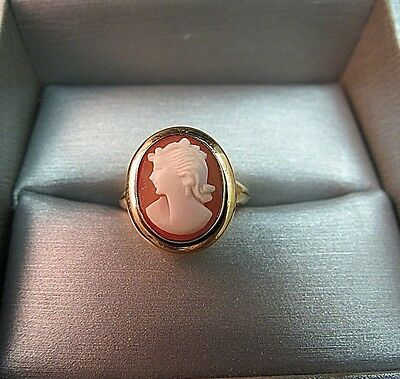 10K Yellow Gold Cameo Ring Vintage Tru-Art SZ 4 Pinky Antique Carved Face 2.79g