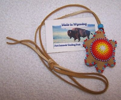 Hand Made Beaded Turtle Amulet Rendezvous Black Powder Mountain Man 07