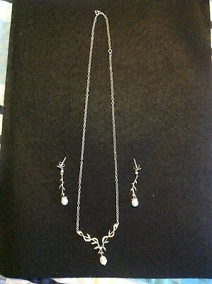 Sterling Silver Pearl Necklace And Earrings