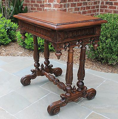 Antique French Oak Gothic Renaissance Lift Top Sewing Table Nightstand Vanity