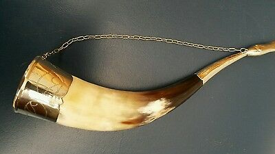 Vintage Horn With White Metal Mounts