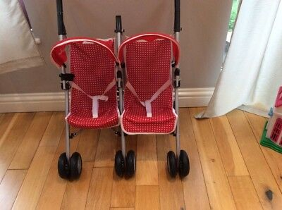 Silver cross Red Pram Dolls Twin Double Buggy