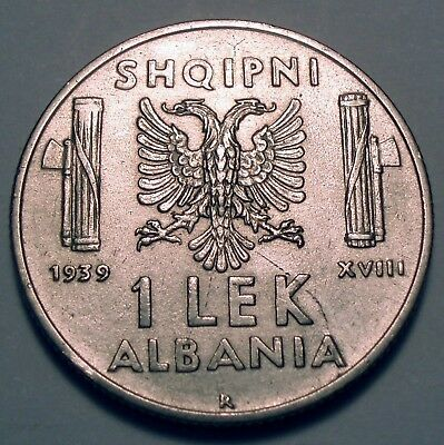 Albania, Italian Occupation Wwii 1 Lek 1939