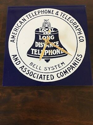 VINTAGE Bell System American Telephone & Telegraph Co Metal Ad. Sign / Clock