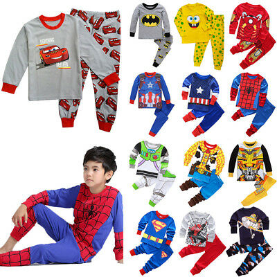2Pcs Kids Boys Toddler Superhero Outfit Set Pajamas Sleepwear Pyjamas Nightwear