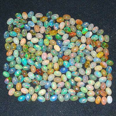 214 Pcs ~ 6mm/4mm Certified Lot ~ Natural Ethiopian Opals AAA Strong Color Play