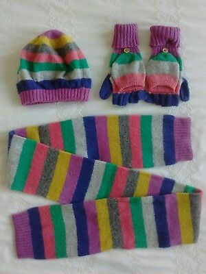 Girls Mini Boden Multicolour Striped Hat Scarf Gloves 7-10Y Wool Angora Mix