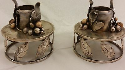 Hattie Gorney Pair Of Sterling Silver Mixed Metal Candlesticks