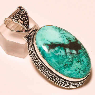 """Blue Mohave Turquoise Gemstone Vintage Style .925 Silver Pendant 2.1"""""""