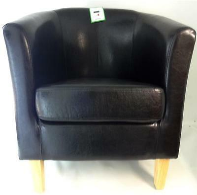 Black Bonded Leather Tub Chair Armchair Dinning Living Room Office Reception