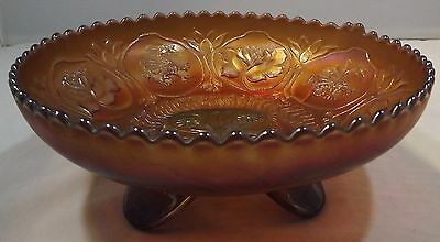 Vintage Carnival Glass Footed Bowl Dish Dragon & Lotus Pattern