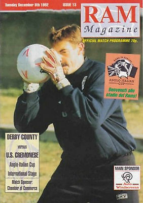 1992/93 Derby County v U.S. Cremonese, Anglo-Italian Cup, PERFECT