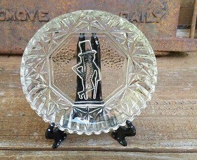Vintage Planters Mr. Peanut Embossed Clear Glass Dish Collectible Plate