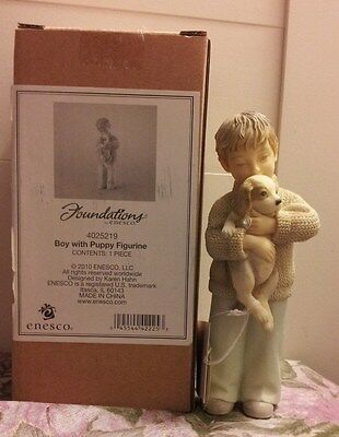 FOUNDATIONS BY ENESCO Boy with Puppy Figurine (NIB)!!!