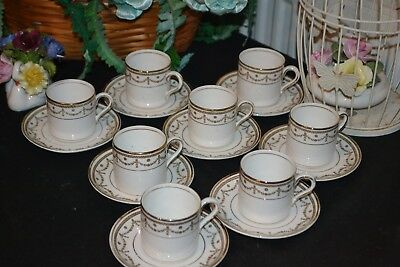 Lovely Antique Vintage Coffee Set 8x Coffee Cans Cups & Saucers Kennards Croydon