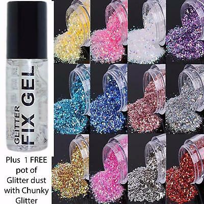 Stargazer - Fix Gel Fixative Body Glue -  plus FREE pot of Glitter & Chunky Mix
