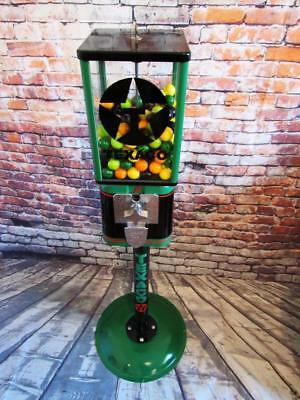 Texaco gas vintage gumball candy dispenser glass with metal stand coin operated