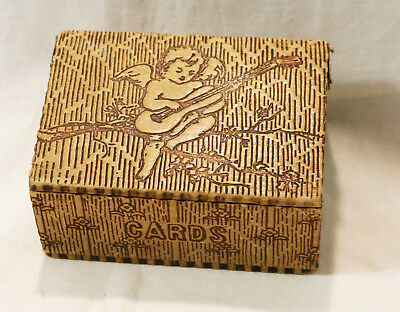Vintage Antique Pryo Art Wood Burned Lidded Playing Card Wood Box With Angels