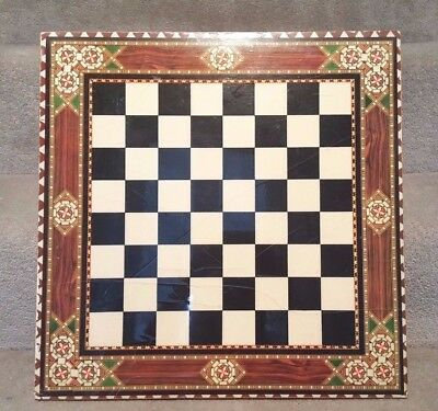 Vintage Wooden Chess Board w/ Intricate Design; Cracked Lacquer, Still Beautiful