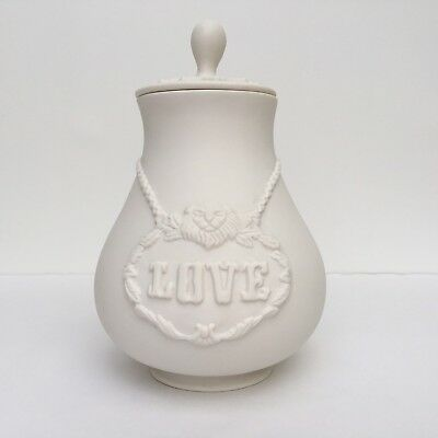 "Jonathan Adler 8.5"" LOVE Matte White Apothecary of Emotion Jar Canister Retired"