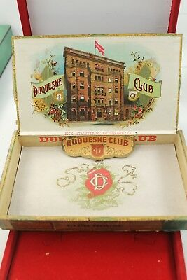 Antique DUQUESNE CLUB Pittsburgh PA Wooden Cigar Box Labels & Intact-See Pics!