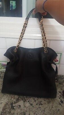 49a64ba92ef4 New no tags Tory Burch Marion Chain Slouchy Tote Black Pebbled Leather