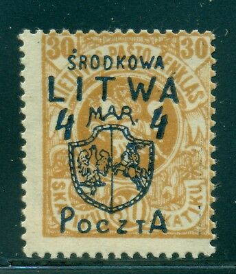 Central Lithuania Selections: Scott #16 MH 4m/30sk Buff Signed Laszkiewicz CV$47