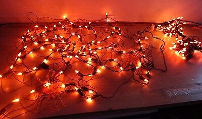 Web lighted with 2 lighted spiders Halloween decor 2 strains orange lights