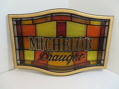 Michelob Draught Plastic Beer Bar Sign - Stained Glass Look