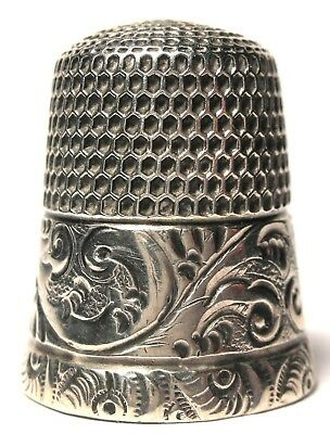 Simons Sterling Silver Thimble with Chased Running Scrolls Size 12  c.1890s