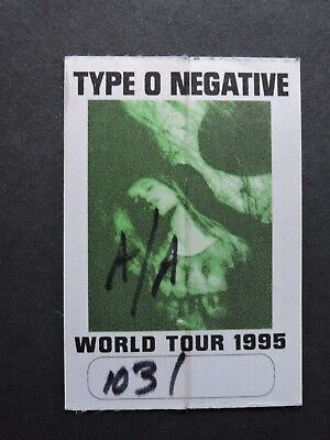 1995 Type O Negative World Tour Backstage Pass ! Satin Cloth Sticker Unpeeled !!