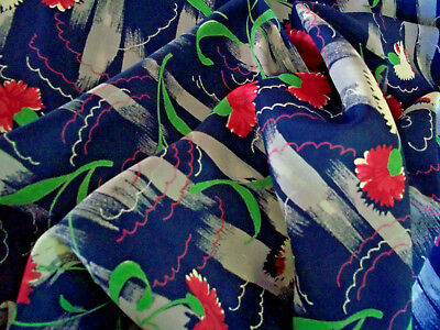 Vintage mid century abstract carnations fabric on orig. bolt 1940's 6+ yards!