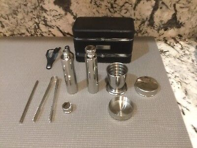 Pottery Barn Mini Travel Bar Set Leather Travel Case W/SS Flasks/Cups/Tools