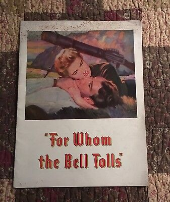 "Rare 1943 ""for Whom The Bell Tolls"" Film Program Gary Cooper, Ingrid Bergman"